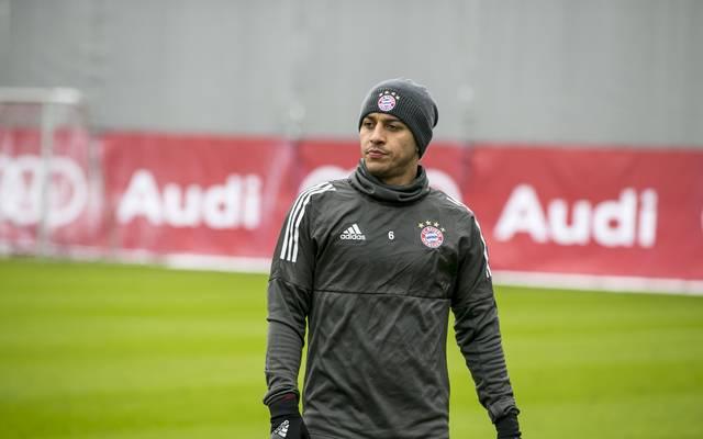FC Bayern; Thiago zurück im Mannschaftstraining, Thiago trainiert nach seiner Spunggelenksverletzung wieder auf dem Platz