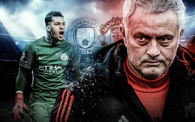 Manchester-United-Coach Jose Mourinho (r.) und City-Schlussmann Ederson gerieten nach dem Derby aneinander
