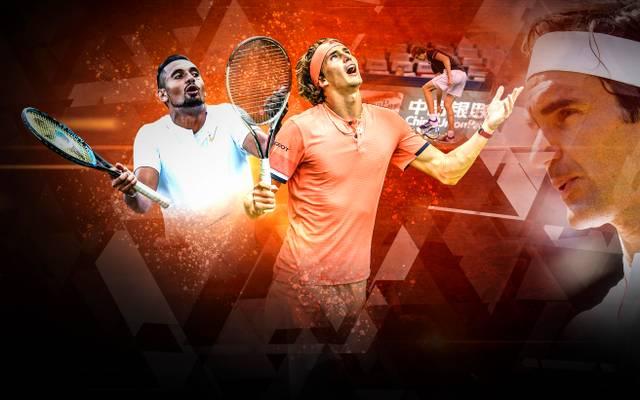 Für Roger Federer (r.) haben Nick Kyrgios (l.) und Alexander Zverev (m.) nicht die Klasse von Nadal