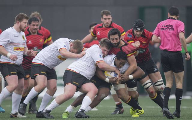 Die deutsche 15er-Rugby-Nationalmannschaft (in weiß) kam unter die Räder