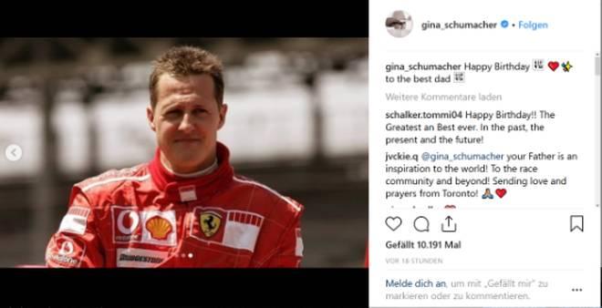 Gina Schumacher gratuliert Michael Schumacher zum 50. Geburtstag