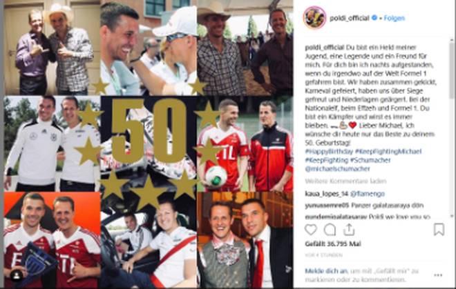 Im Rahmen von DFB-Veranstaltungen hat Lukas Podolski den bekennenden Fußballfan Schumacher oft getroffen