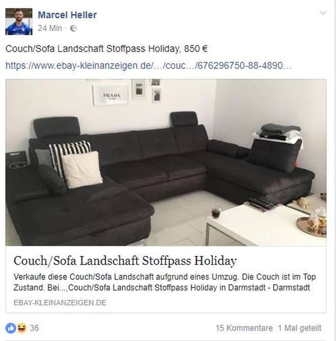 Bundesliga Marcel Heller Will Couch Auf Ebay Verkaufen