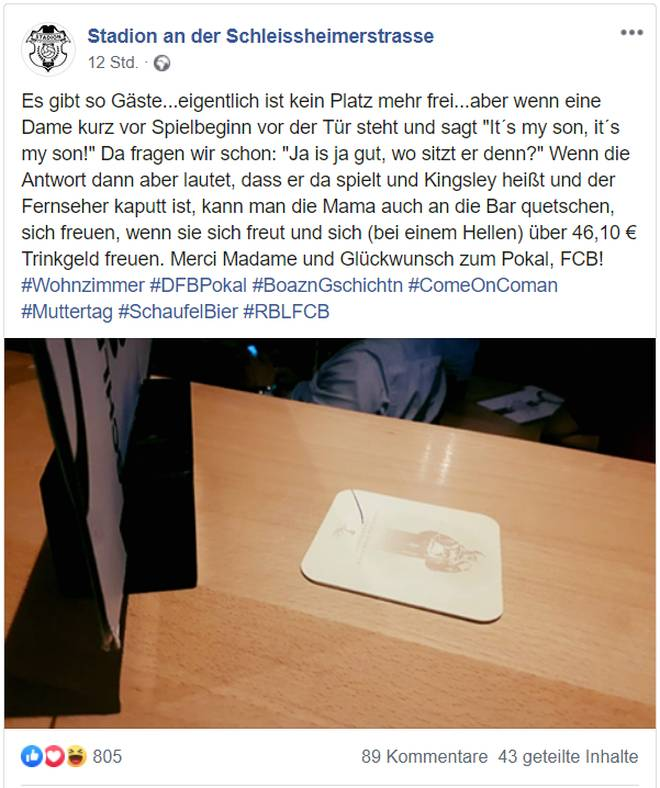 FC Bayern: Coman-Mutter sieht DFB-Pokalfinale in Kultkneipe