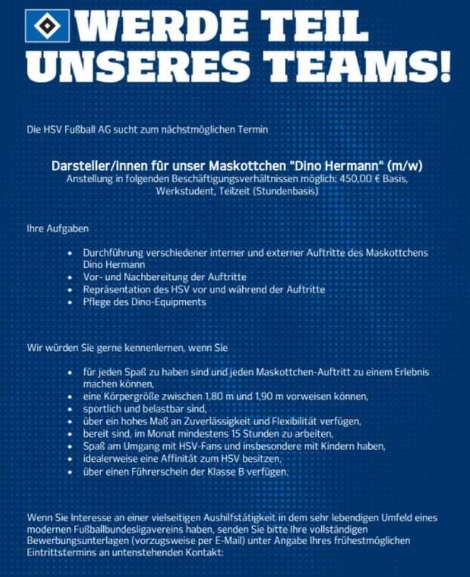 Diese Stellenausschreibung für ein neues Maskottchen veröffentlichte der Hamburger SV
