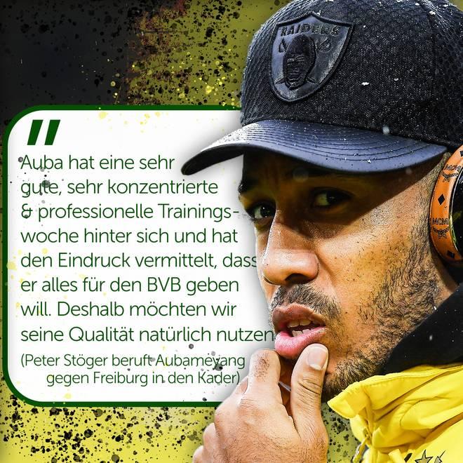 Pierre-Emerick Aubameyang hat es erstmals seit der Winterpause in den BVB-Kader geschafft
