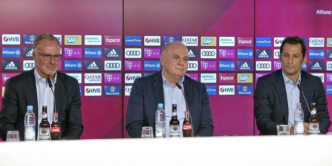 Karl-Heinz Rummenigge (l.), Uli Hoeneß (M.) und Hasan Salihamidzic hatten beim FC Bayern Redebedarf