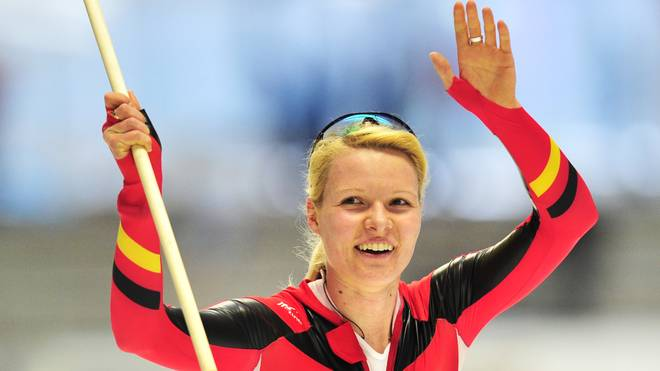Germany's Stephanie Beckert celebrates w