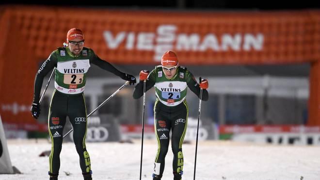 Johannes Rydzek und Vinzenz Geiger wurden in Val die Fiemme Zweiter