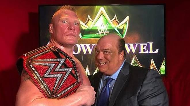 Brock Lesnar (l., mit Manager Paul Heyman) ist neuer Universal Champion von WWE