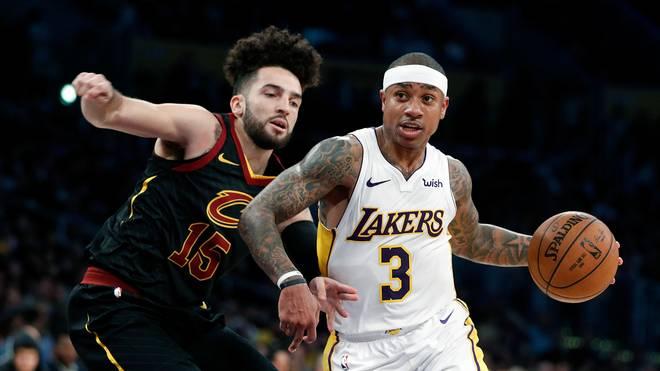 Isaiah Thomas (r.) feierte mit den Los Angeles Lakers gegen die Cleveland Cavaliers von LeBron James einen klaren Sieg