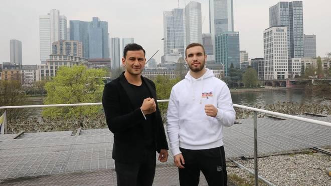 Leon Harth (l.) boxt am 4. Mai in Frankfurt gegen Leon Bunn