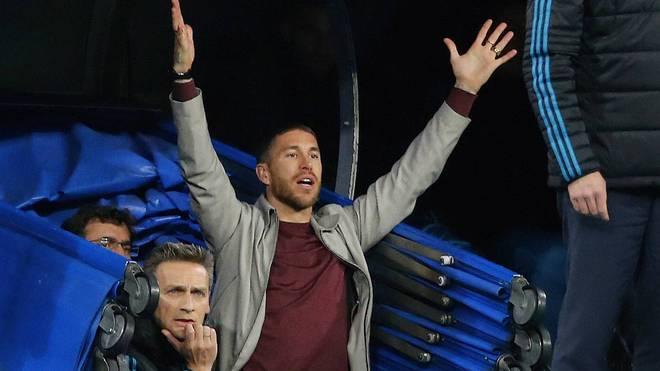 Sergio Ramos hielt es während der Partie nicht auf seinem Platz auf der Tribüne