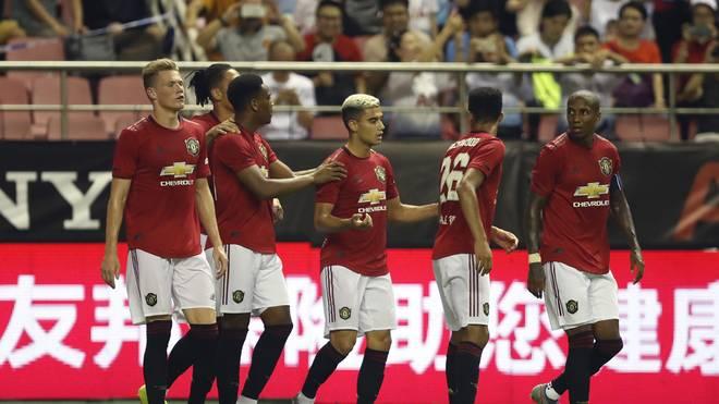 ICC: Manchester United siegt gegen Tottenham Hotspur, Die Spieler von Manchester United feiern den Treffer von Anthony Martial gegen Tottenham