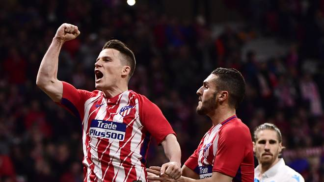 Kevin Gameiro (l.) gewann mit Atletico Madrid die Europa League 2017/18
