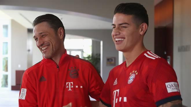 Auf der USA-Reise der Bayern im Sommer hatten Niko Kovac (l.) und James Rodriguez noch gut lachen