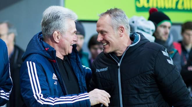 Bayern-Trainer Jupp Heynckes (l.) hatte am Wochenende letztmals beruflich mit seinem Freiburger Kollegen Christian Streich zu tun