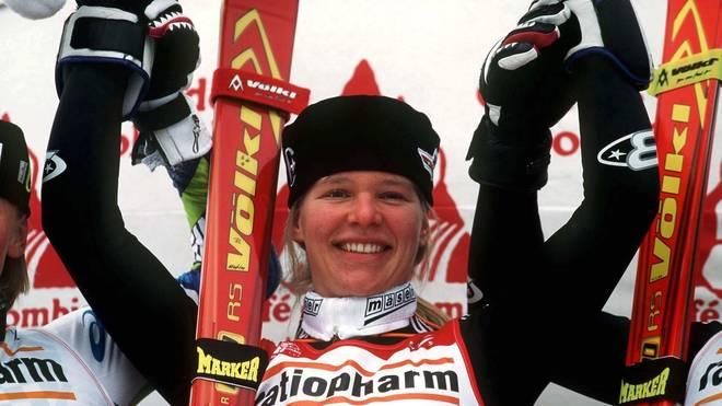 Katja Seizinger gewann drei Mal Gold bei Olympia