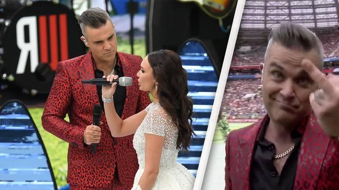 Robbie Williams zeigte bei der Eröffnungsfeier zur WM 2018 den Stinkefinger