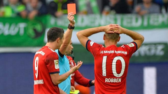 Bundesliga, FC Bayern München, Arjen Robben, VfL Wolfsburg, Platzverweis