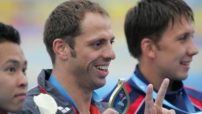 Mark Warnecke (m.) wurde 2005 Weltmeister über 50 m Brust