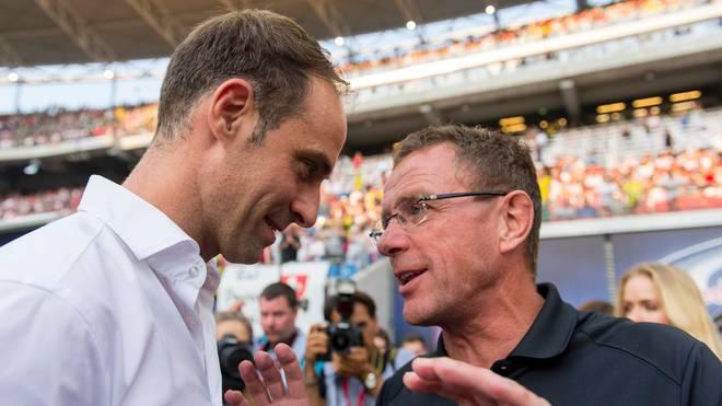 Oliver Mintzlaff (links) und Ralf Rangnick suchen einen neuen Trainer für RB Leipzig
