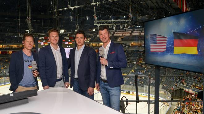 Das Eishockey-Teams von SPORT1: Moderator Sascha Bandermann, Kommentator Basti Schwele, Experte Marcel Goc und Experte Rick Goldmann.