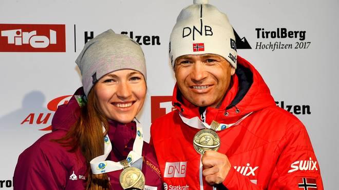 Ole Einar Björndalen und Daria Domratschewa starten beim Biathlon-Spektakel auf Schalke