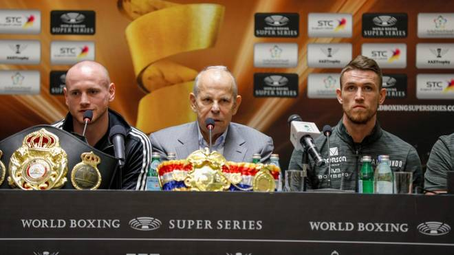 George Groves (l.) trifft im Finale auf Callum Smith (r., mit WBSS-Promoter Wilfried Sauerland)