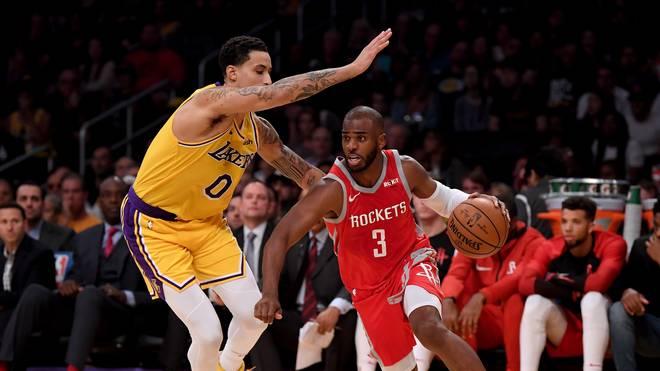 Chris Paul (r.) trifft mit den Houston Rockets auf Kyle Kuzma und die Los Angeles Lakers