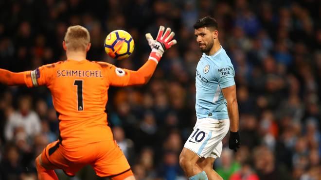 ManCity-Stürmer Sergio Agüero schnürt gegen Leicester City einen Viererpack