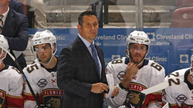 Carolina Hurricanes v Florida Panthers Florida Panthers Head coach Bob Boughner of the Florida Panthers looks on during third period action against the Carolina Hurricanes at the BB&T Center on February 21, 2019 in Sunrise, Florida. The Hurricanes defeated the Panthers 4-3.