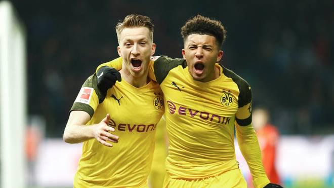 Dortmunder Marco Reus und Jadon Sancho jubelnd