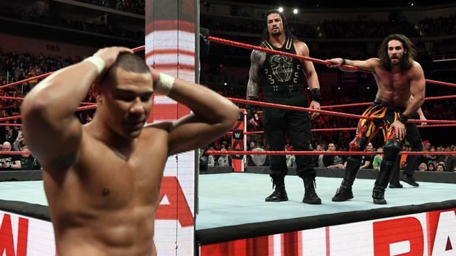 Jason Jordan kostete Roman Reigns und Seth Rollins (v.l.) bei WWE Monday Night RAW eine Titelchance
