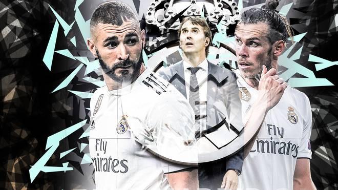 Karim Benzema (l.), Trainer Julen Lopetegui (M.) und Gareth Bale durchleben mit Real Madrid eine seltene Flaute