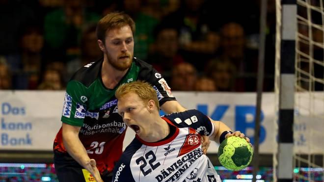 Handball: Albin Lagergren wechselt von Magdeburg zu den Löwen, Albin Lagergren (links) verlässt den SC Magdeburg nach dieser Saison