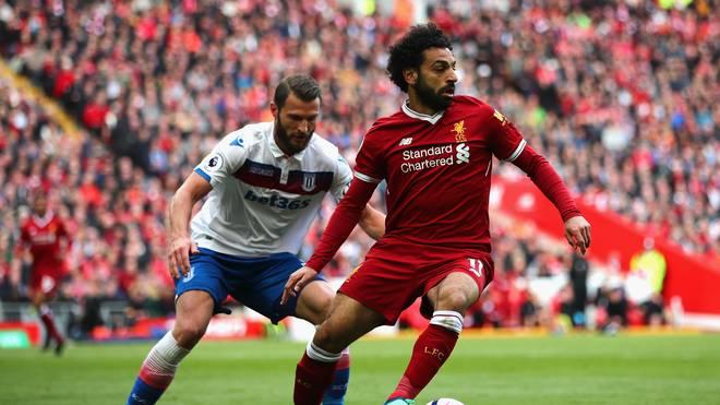 Liverpools Torjäger Mohamed Salah (rechts) ging gegen Stoky City leer aus