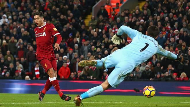 Per No-Look-Tor besorgte Roberto Firmino (l.) das 4:0 für Liverpool gegen Swansea City