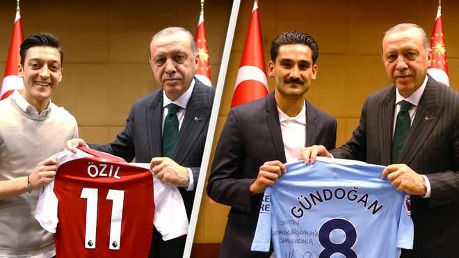 Mesut Özil und Ilkay Gündogan überreichten Türkeis Staatspräsident Erdogan Trikots ihrer Klubs