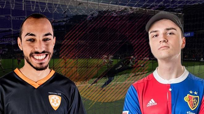 """Mo_Aubameyang (links) glaubt an das Momentum, während Florian """"Cody"""" Müller vom FC Basel anderer Meinung ist."""