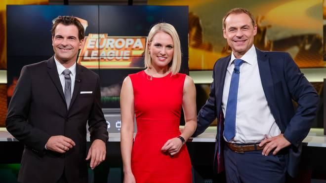 Das UEFA Europa League Moderatoren-Trio