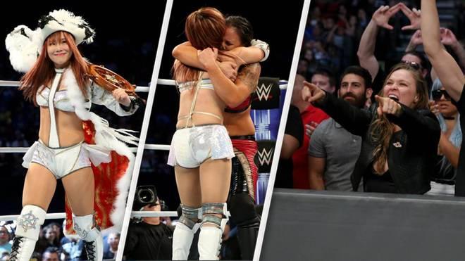Kairi Sane (l.) und Shayna Baszler überzeugten WWE-Edelfan Ronda Rousey (r.)
