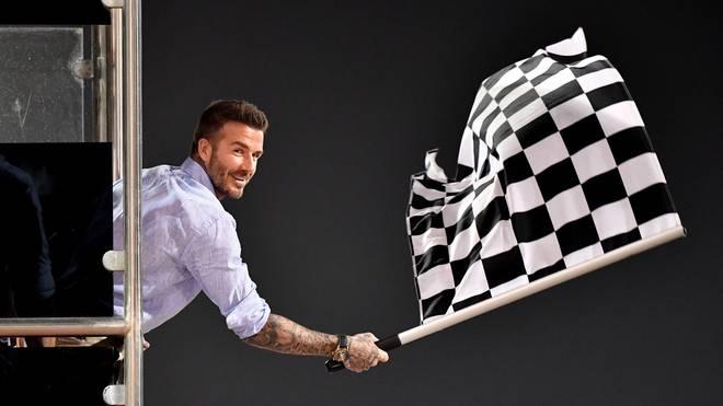 David Beckham durfte in Bahrain die Zielflagge schwenken