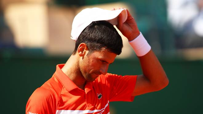 Rolex Monte-Carlo Masters - Day Six Novak Djokovic of Serbia shows his dejection during his three set defeat by Daniil Medvedev of Russia in their quarter final match during day six of the Rolex Monte-Carlo Masters at Monte-Carlo