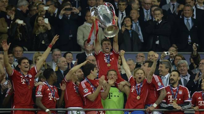 FC Bayern: Thomas Müller (M.) feierte mit dem Champions-League-Sieg 2013 seinen größten Titel