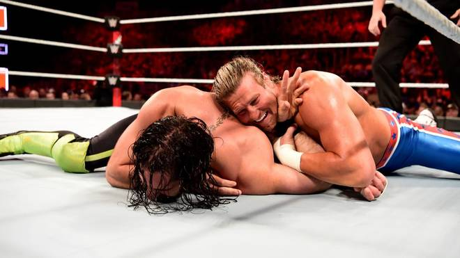 Seth Rollins (l.) und Dolph Ziggler bestritten bei WWE Extreme Rules 2018 ein Iron Man Match