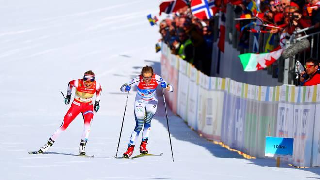 Bereits bei der WM-Staffel hatte Stina Nilsson im Sprint Therese Johaug keine Chance gelassen