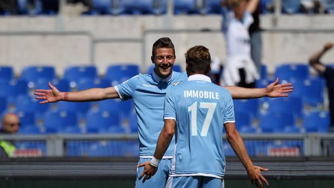 Ciro Immobile (vorne) blüht bei Lazio auf