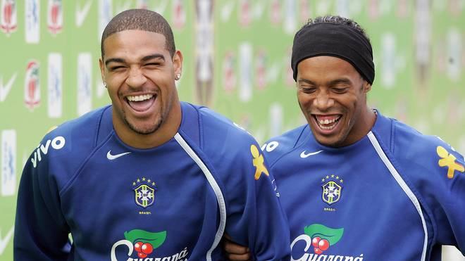 Brazilian soccer strickers Adriano Ribei