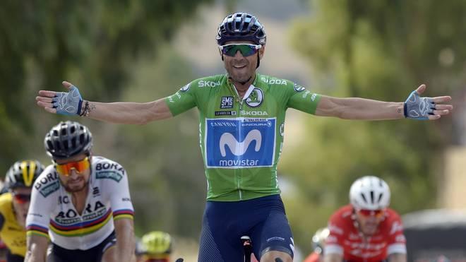 Alejandro Valverde (M.) ist derzeit Zweiter in der Gesamtwertung